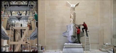La Nike di Samotracia durante la delicata fase del restauro al museo del Louvre