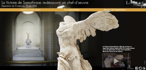 """L'home page della mostra """"La Nike di Samotracia - Riscoperta di un capolavoro"""" sul sito del Louvre"""
