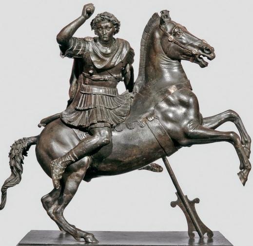Statua equestre in bronzo di Alessandro Magno dal museo Archeologico di Napoli