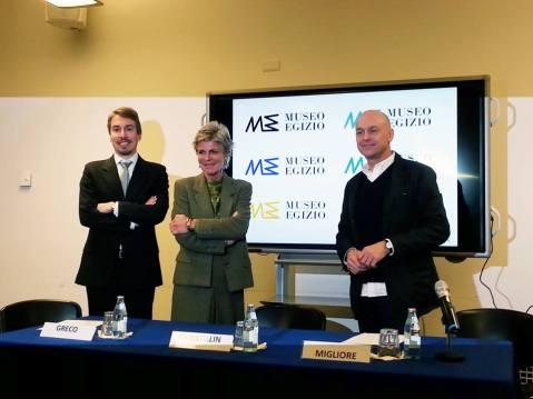 La presentazione del logo del Museo Egizio con il direttore Christian Greco, la presidente Evelina Christillin, e l'ideatore Ico Migliore