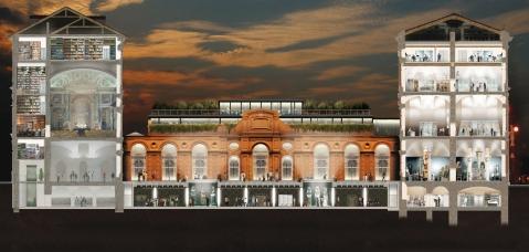 Tavola con il progetto di allestimento del nuovo Museo Egizio a Torino con l'organizzazione degli spazi sui diversi piani