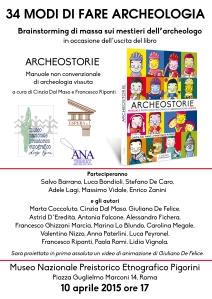 La locandina-invito della grande festa di Archeostorie al museo Pigorini di Roma