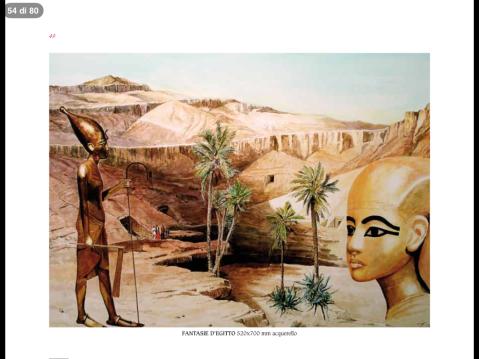 """Una tavola ad acquerello con soggetto sull'Antico Egitto nella mostra di Oderzo """"Omaggio a Tutankhamon"""""""