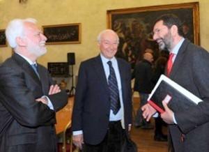 Paco Lanciano, Piero Angela e Ignazio Marino in Campidoglio a Roma