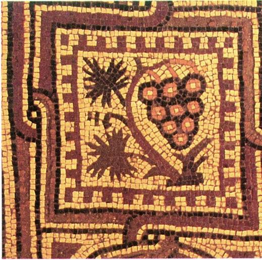 Un mosaico antico con raffigurato un grappolo d'uva