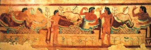 Il simposio come lo hanno rappresentato gli stessi etruschi nelle loro pitture