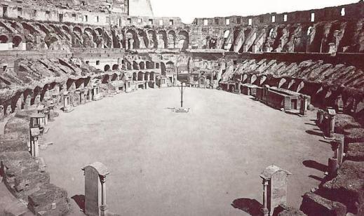 L'arena del Colosseo completa come si vedeva ancora nell'Ottcento