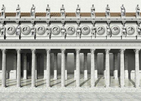 La ricostruzione di un tratto dei portici monumentali del Foro di Traiano a Roma