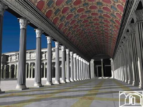 Un rendering del grande porticato del complesso del Foro di Traiano con le imponenti colonne
