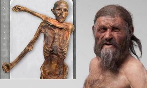 La mummia del Similaun e una ricostruzione dell'Uomo venuto dal Ghiaccio (Iceman)
