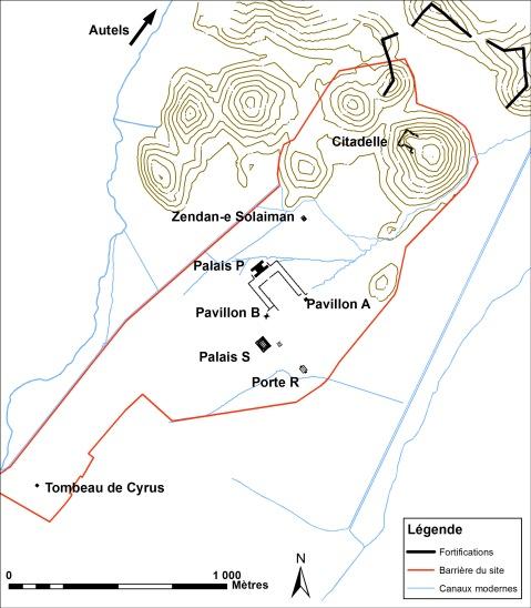 La localizzazione dei monumenti di Pasargade, un sito particolarmente esteso
