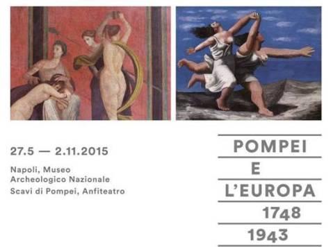 """Il manifesto della mostra """"Pompei e l'Europa"""" aperta all'anfiteatro di Pompei e al museo archeologico nazionale di Napoli"""