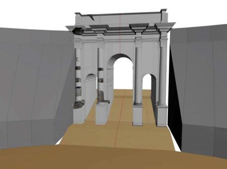 L'arco di Tito al Circo Massimo era a tre fornici intercomunicanti con 4 colonne libere