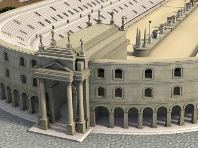 L'arco di Tito al Circo Massimo come doveva essere inserito al centro dell'emiciclo