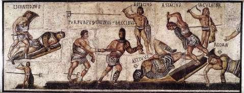Mosaico romano con raffigurati i giochi gladiatori nell'anfiteatro