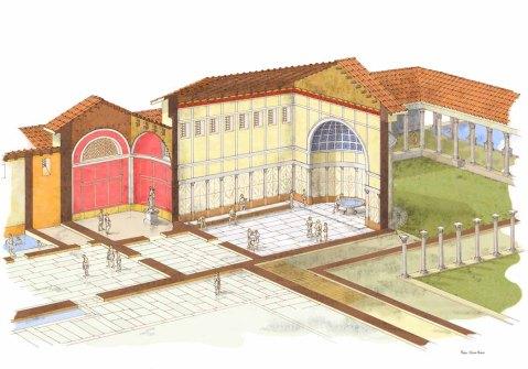 Una ricostruzione di un settore del complesso termale neroniano a Montegrotto
