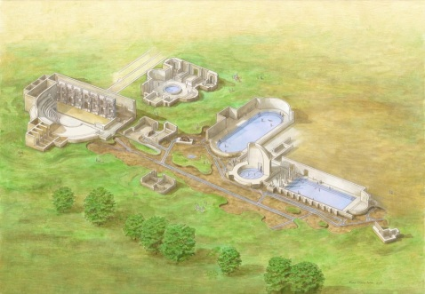 La ricostruzione del complesso termale neroniano scoperto nel 1780 da Giovan Antonio Dondi Orologio