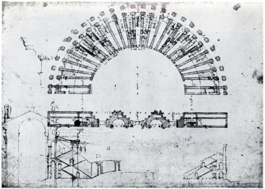 La prima pianta del teatro romano di Berga a Vicenza realizzata da Andrea Palladio