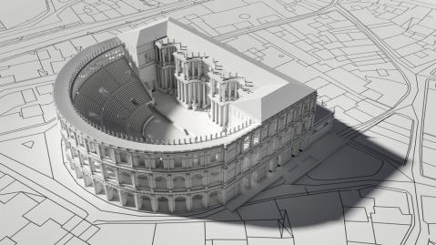 La ricostruzione 3D del Teatro dell'architetto Fabrizio Burtet Fabris basata sui disegni del Miglioranza