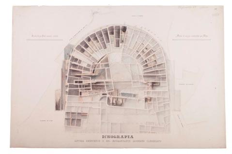 La pianta del teatro di Berga disegnata con tocco artistico da Giovanni Miglioranza