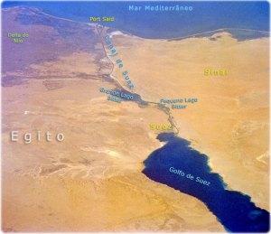 Il tracciato del Canale di Suez tra mar Rosso e Mediterraneo