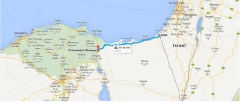 Il tracciato del Cammino di Horus, la strada militare da al-Qantara a Gaza
