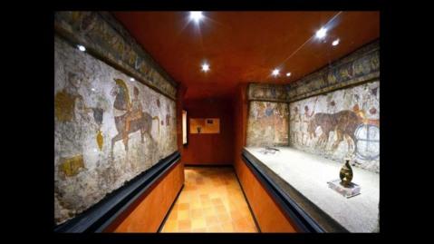 Una tomba sannitica ricostruita nel museo della Valle del Sarno
