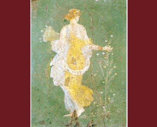 """""""Flora"""", uno dei più famosi affreschi ritrovati a villa Arianna scoperta già in epoca borbonica"""