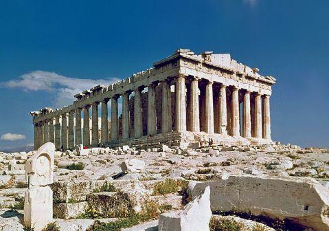 Il Partenone di Atene: fu gravemente danneggiato nel 1687 da un bombardamento dei veneziani