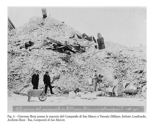 Giacomo Boni in sopralluogo alle macerie del campanile di san Marco