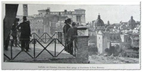 L'archeologo Giacomo Boni dal Palatino mostra il Foro romano alle autorità