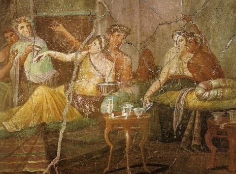 In questo affresco pompeiano un tipico banchetto in una villa dell'antica Roma
