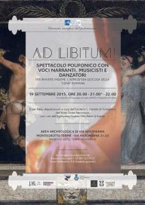 """Il manifesto dello spettacolo """"Ad libitum!"""" nella villa romana di Montegrotto"""