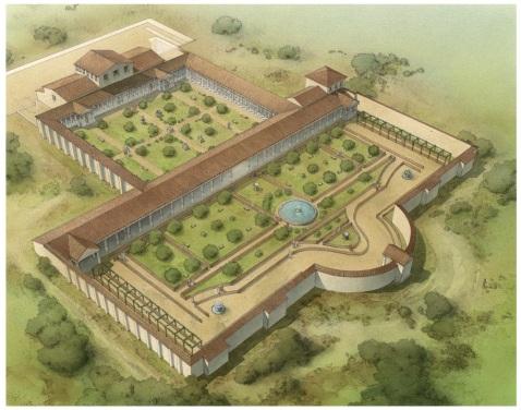 Una ricostruzione della villa romana di via Neroniana a Montegrotto