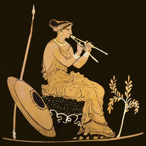 Atena suona gli auloi: pittura vascolare da Taranto