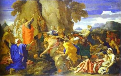 Gli ebrei guidati da Mosè raccolgono la manna nel deserto, in un'opera di Nicolas Poussin
