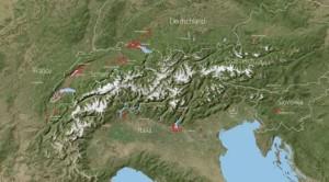 Mappa delle aree nell'arco alpino con siti palafitticoli