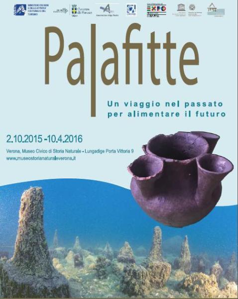 """Il manifesto della mostra di Verona """"Palafitte. Un viaggio nel passato per alimentare il futuro"""""""