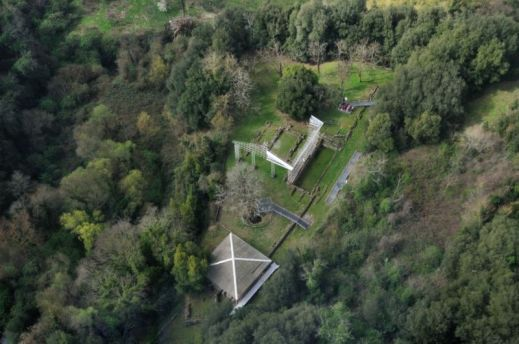 L'area archeologica di Veio con il santuario del Portonaccio in una veduta dall'alto