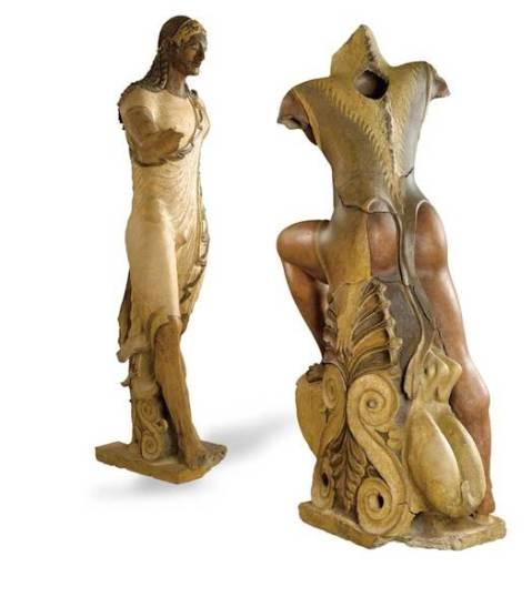 Apollo ed Eracle: statue in terracotta policroma