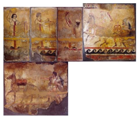 Le cinque lastre affrescate della tomba da Paestum recuperate dai carabinieri