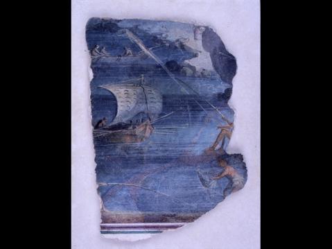 """Il frammento di pittura con paesaggio marino proveniente dalle """"grotte di Catullo"""" esposto a Milano"""