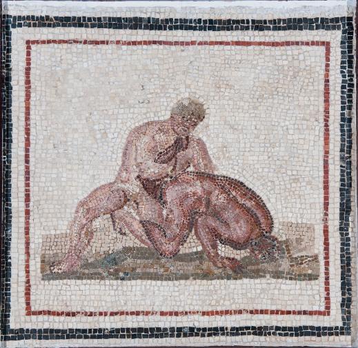 """""""Lottatori"""", mosaico proveniente da Gightis (Henchir Bou Ghrara), nel sud della Tunisia (foto di Gianluca Baronchelli)"""