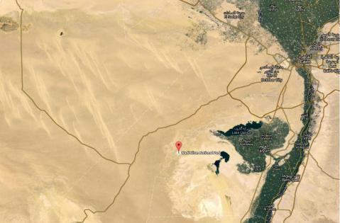 La posizione del Museo dei Fossili nel grande deserto occidentale visto dal satellite (Google Map)