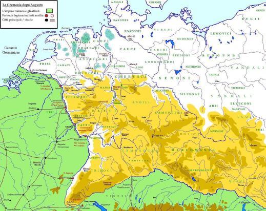La cartina dei territori occupati dalle tribù germaniche, tra cui gli Usipeti, nel I sec. a.C.