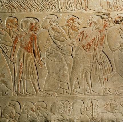 Un rilievo con prigionieri dalla tomba di Horemheb oggi a Leiden