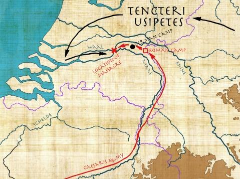 La planimetria della battaglia del 55 a.C. tra le legioni romane di Cesare e le tribù germaniche degli Usipeti e dei Tencteri