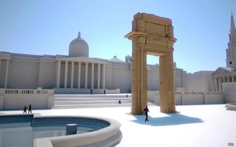 Il rendering dell'arco del tempio di Bel di Palmira ricostruito in Trafalgar Square a Londra