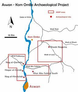 La mappa dell'Aswan-Kom Ombo Archaeological Project (Akap)