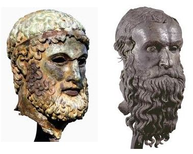 I Bronzi di Porticello: la testa di Basilea e la testa del Filosofo, al museo Archeologico di Reggio Calabria